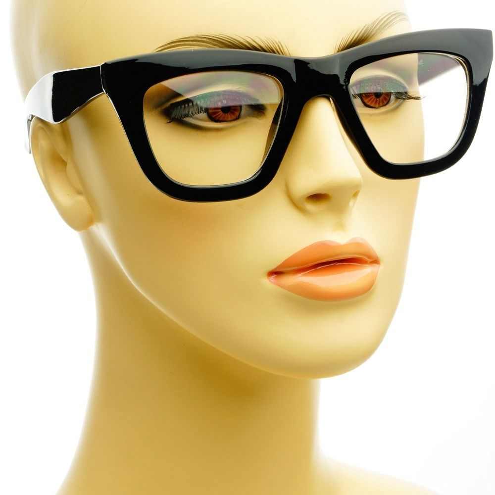 cute womens retro vintage style clear lens cat eye glasses thick frames black