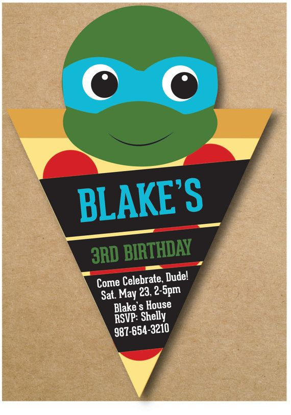 Ninja Turtle Birthday Invitation Pizza Tortugas Ninjas En