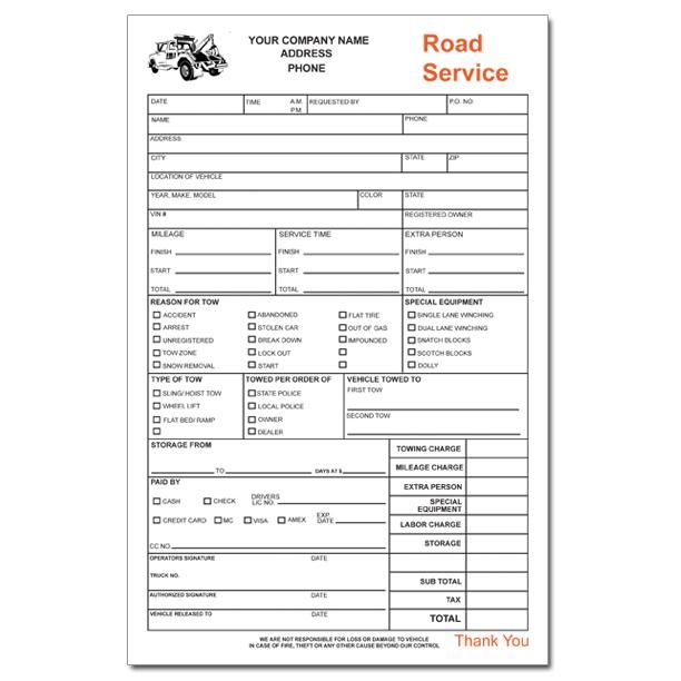 Towing Service Receipt Roadside Service Towing Service Invoice Template