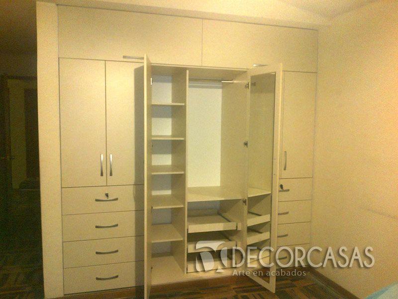 Closet de melamine 18mm para pareja lleva colgadores for Espejos modernos para habitaciones