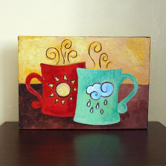 Original painting coffee mates sunshine rain 7x5 by for Paintings for kitchen area