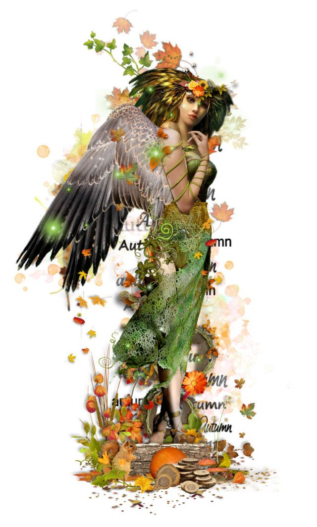 Hazel by girlinthebigbox on Polyvore featuring art, autumn, fantasy, fairy and…