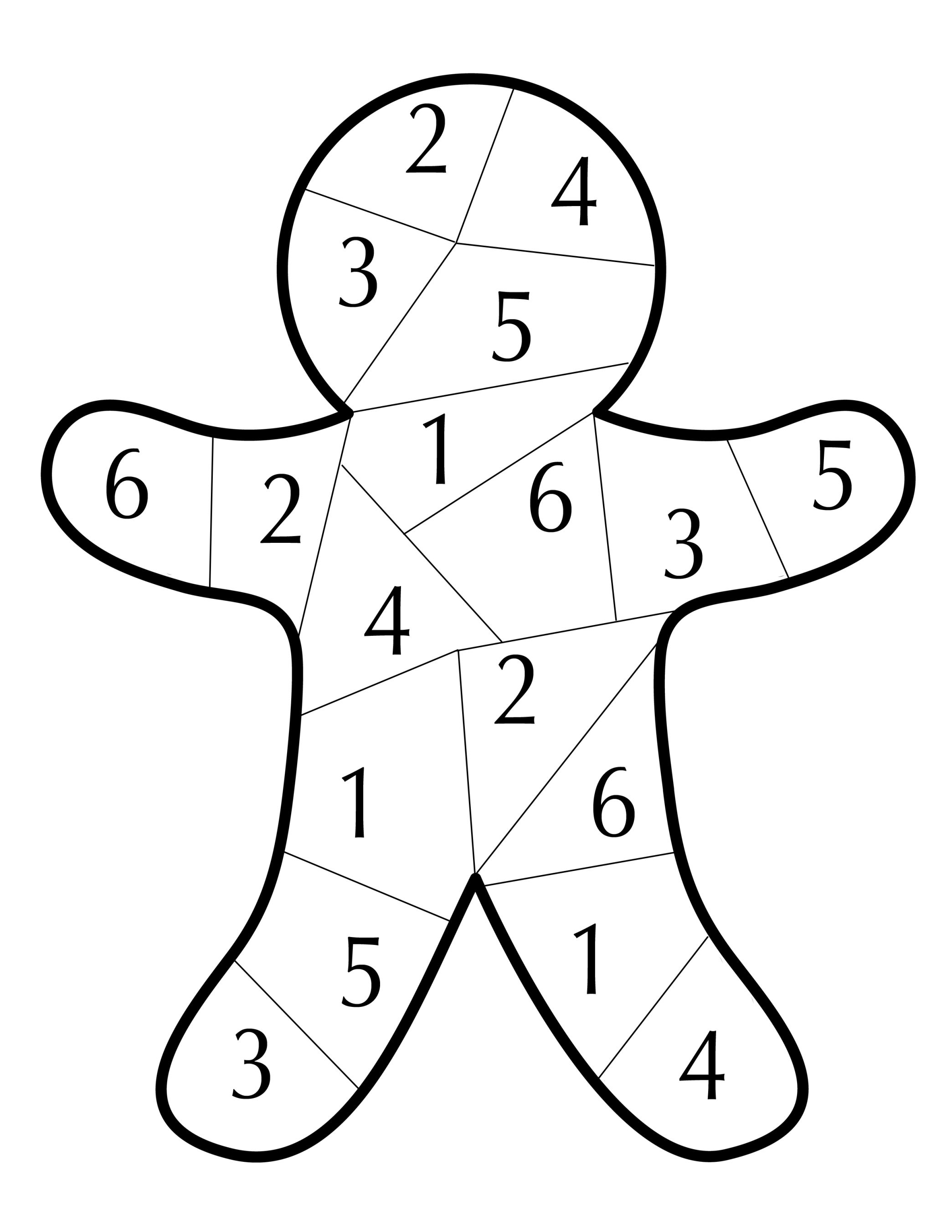 Gingerbread Dice Number Game White