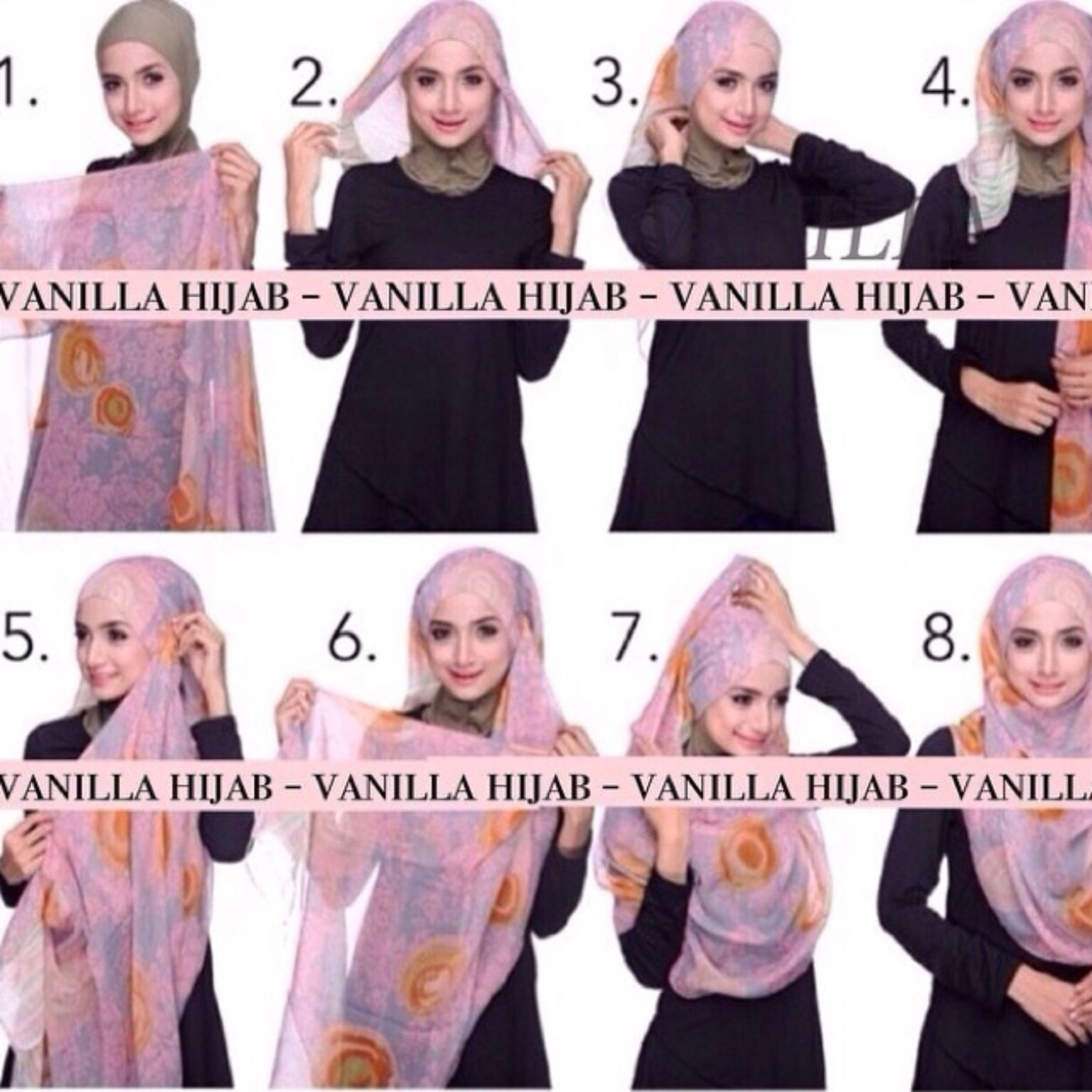 Tutorial Vanilla Hijab Hijab Fashion Pinterest Hijabs