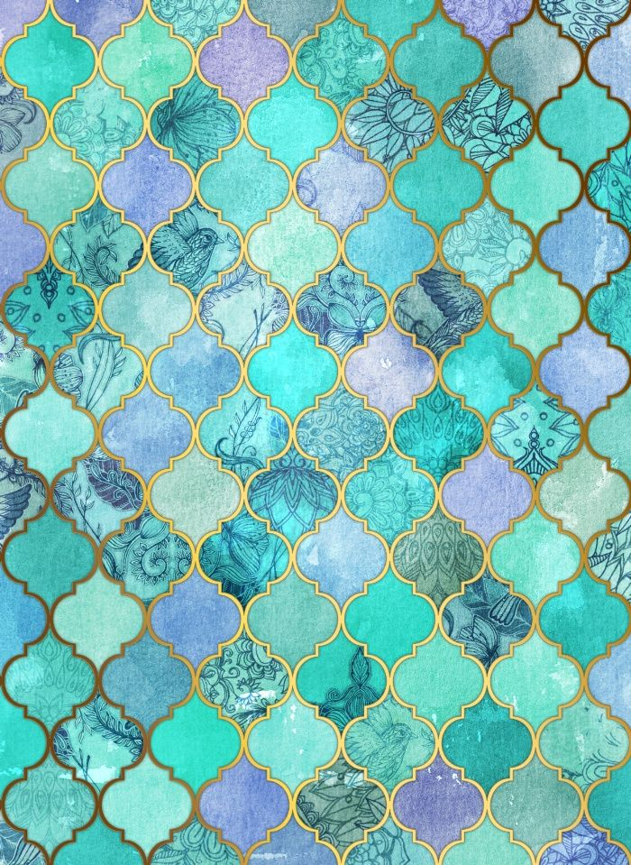 Cool Jade & Icy Mint Decorative Moroccan Tile Pattern Art Print ...