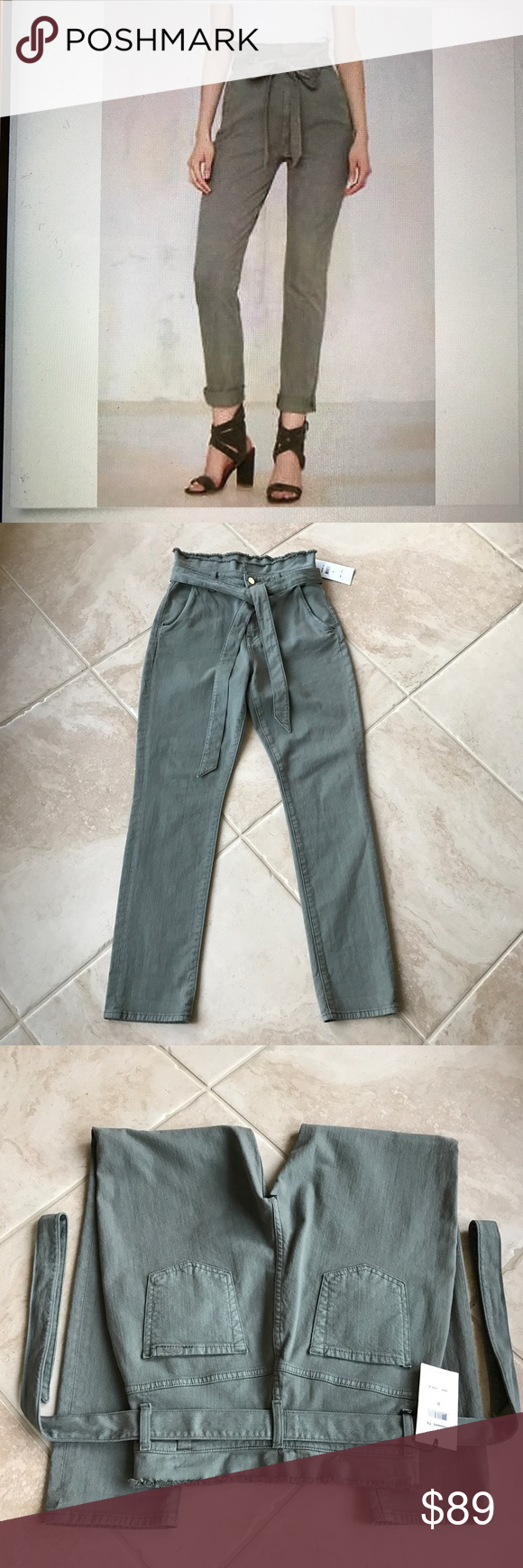 7 for all mankind pants Brand new with tag, paper bag style waist, simple self belt,single button closure and zip fly , 97% cotton 3% spandex, fabric provides stretch 7 For All Mankind Pants