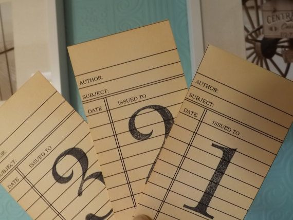 Library Cards Wedding Table Number Blue Card Vintage Numbers Theme