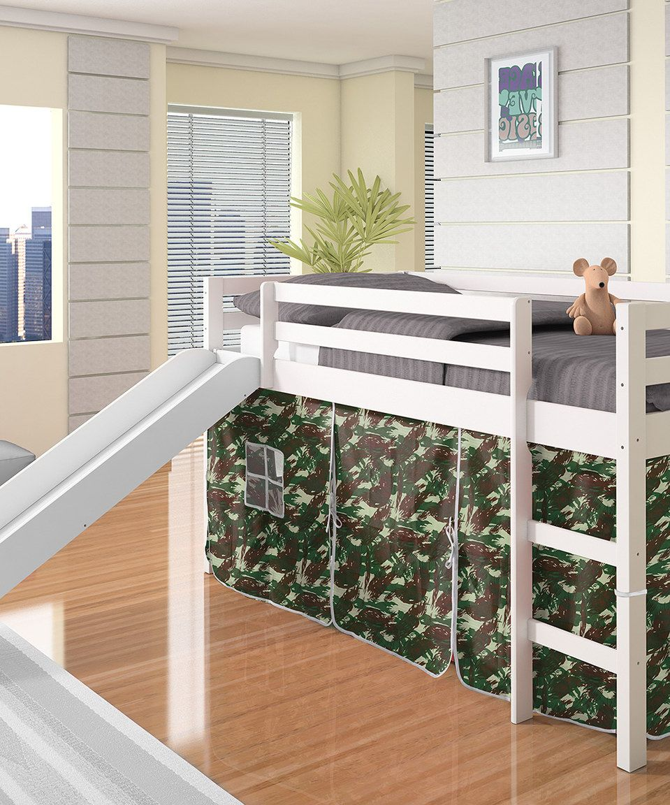 Camo & White Twin Tent Loft Bed & Slide by Donco Kids