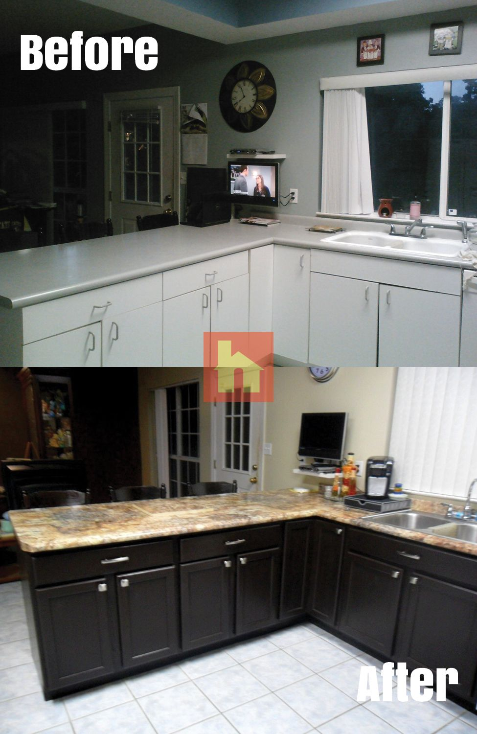 Kitchen Makeover By Lisa E Pensacola Fl We Did A Lot Of Research And Ended Up Purchasing Your Unfin Staining Cabinets Stained Kitchen Cabinets Oak Cabinets