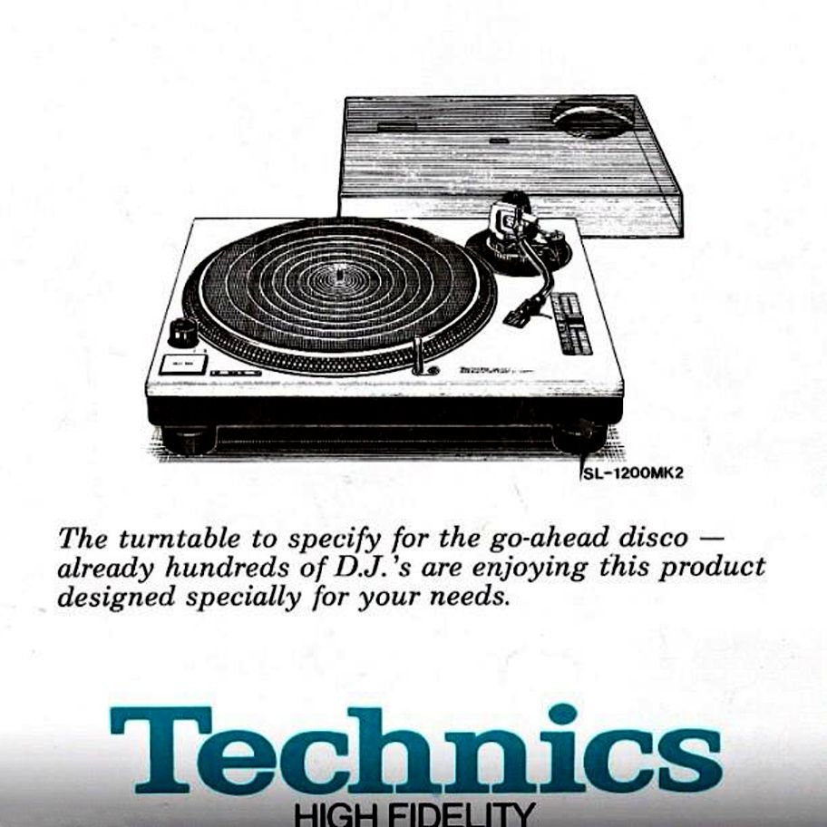 vintage Technics 1200 turntable ad for the emerging DJ market