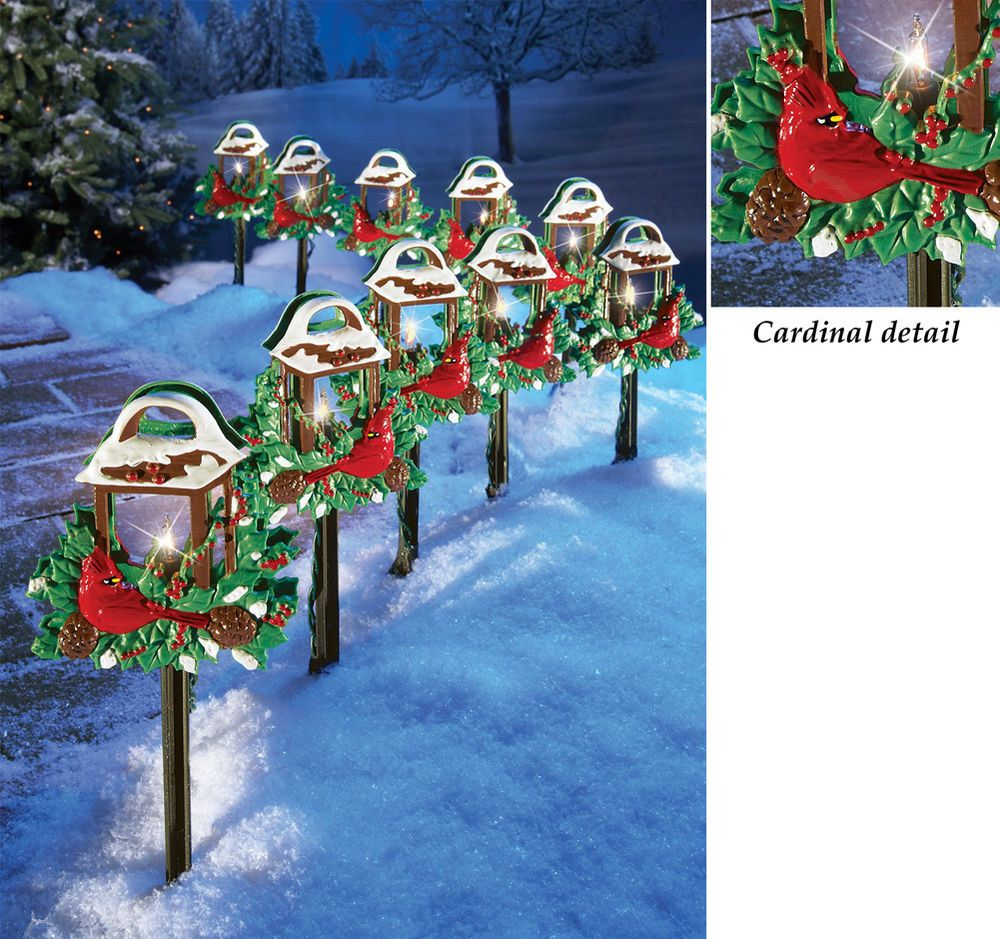 Christmas red birds outdoor pathway light set holiday yard for Outside xmas decorations