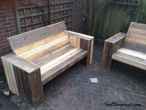 Sloophout loungebanken tuinbank voor in de tuin. #sloophout #hout