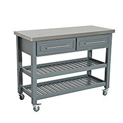 Homcom Country Style Kitchen Island Rustic Rolling Storage Cart On