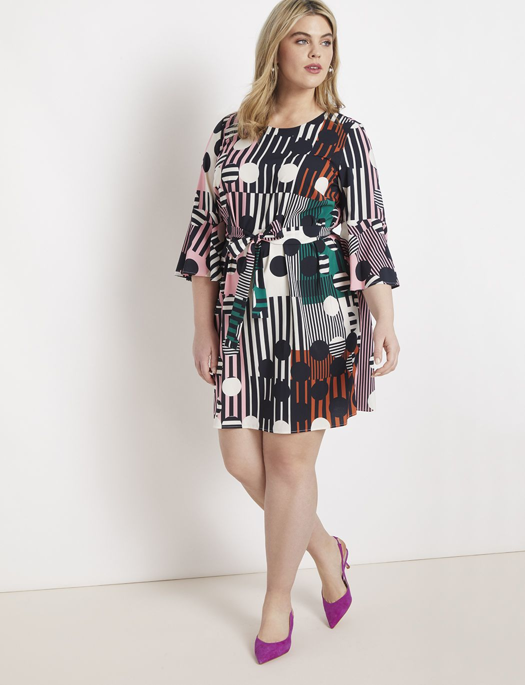 87210f5757d15 Printed Flared Sleeve Dress in 2019