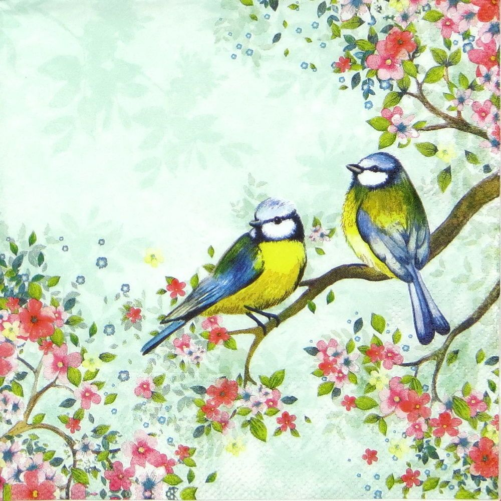Party Chickadee light blue 4x Paper Napkins for Decoupage Craft