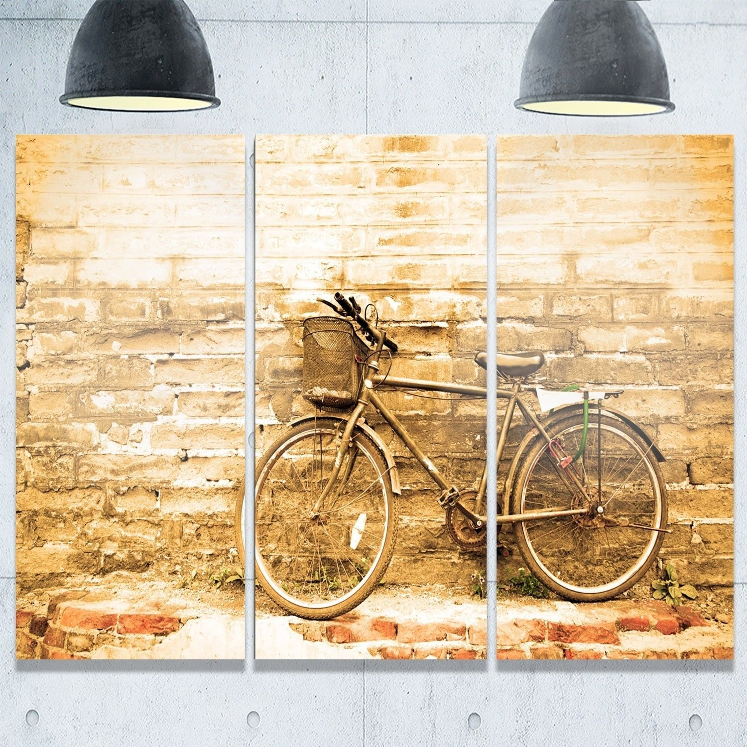 Designart - Vintage Bicycle against Wall - Landscape Glossy Metal ...