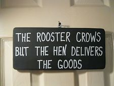 "Funny Rooster, Chicken Sign, Wood, Black, White, Approx. 12"" X 6"""