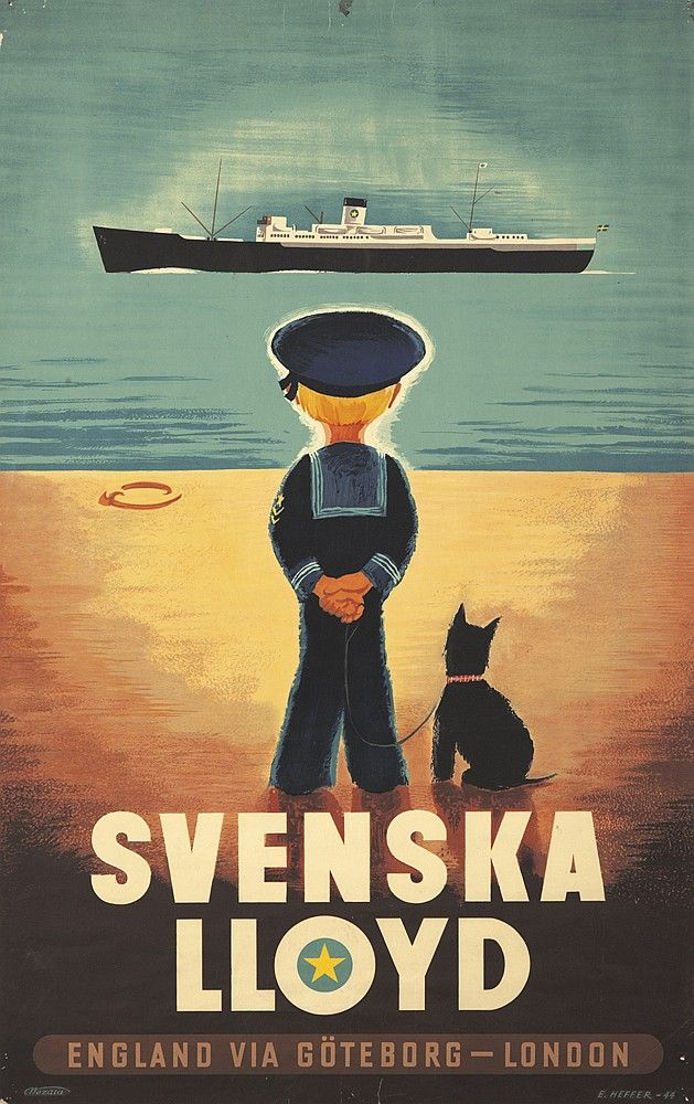 Svenska Lloyd England Via Goteborg London 1944 E Heffere In 2020 Vintage Posters Vintage Poster Art Vintage Travel Posters