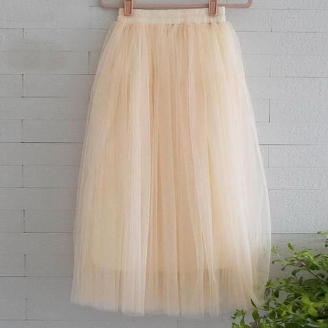 1d7b41a06e Chiffon one Size Candy Color Pleated Skirt 2017 New Fashion Skirts Solid  Mesh Skater Summer Women Sexy Long Skirts