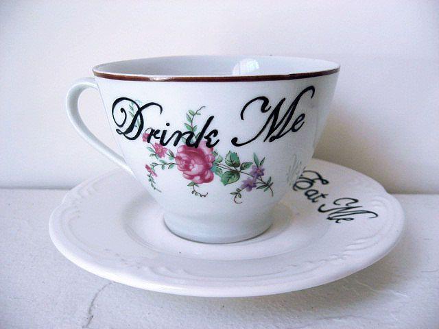 Teacup - Drink Me - Hand Painted - Tea Cup - Coffee Cup. $18.00, via Etsy.