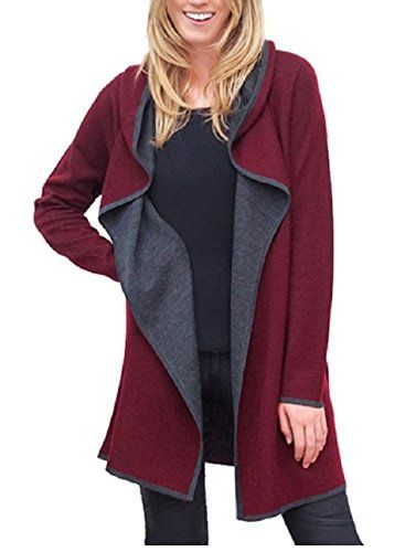 BNCI by Blanc Noir Womens Hooded Wool Blend Cardigan burgundy xlarge *** Click image to review more details.