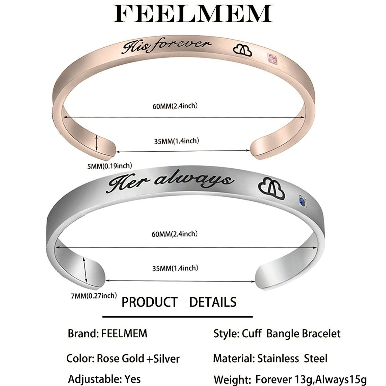 d3c836a0bc9 ZISEI Men Women Matching Set Bracelets His Forever Her Always Couples  Bracelets