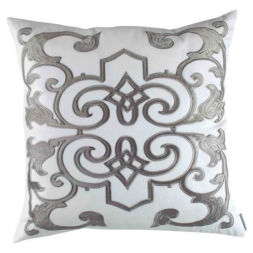 Lili Alessandra Mozart Regency Linen Pillow  White Silver Square is part of Silver Home Accents Beds -