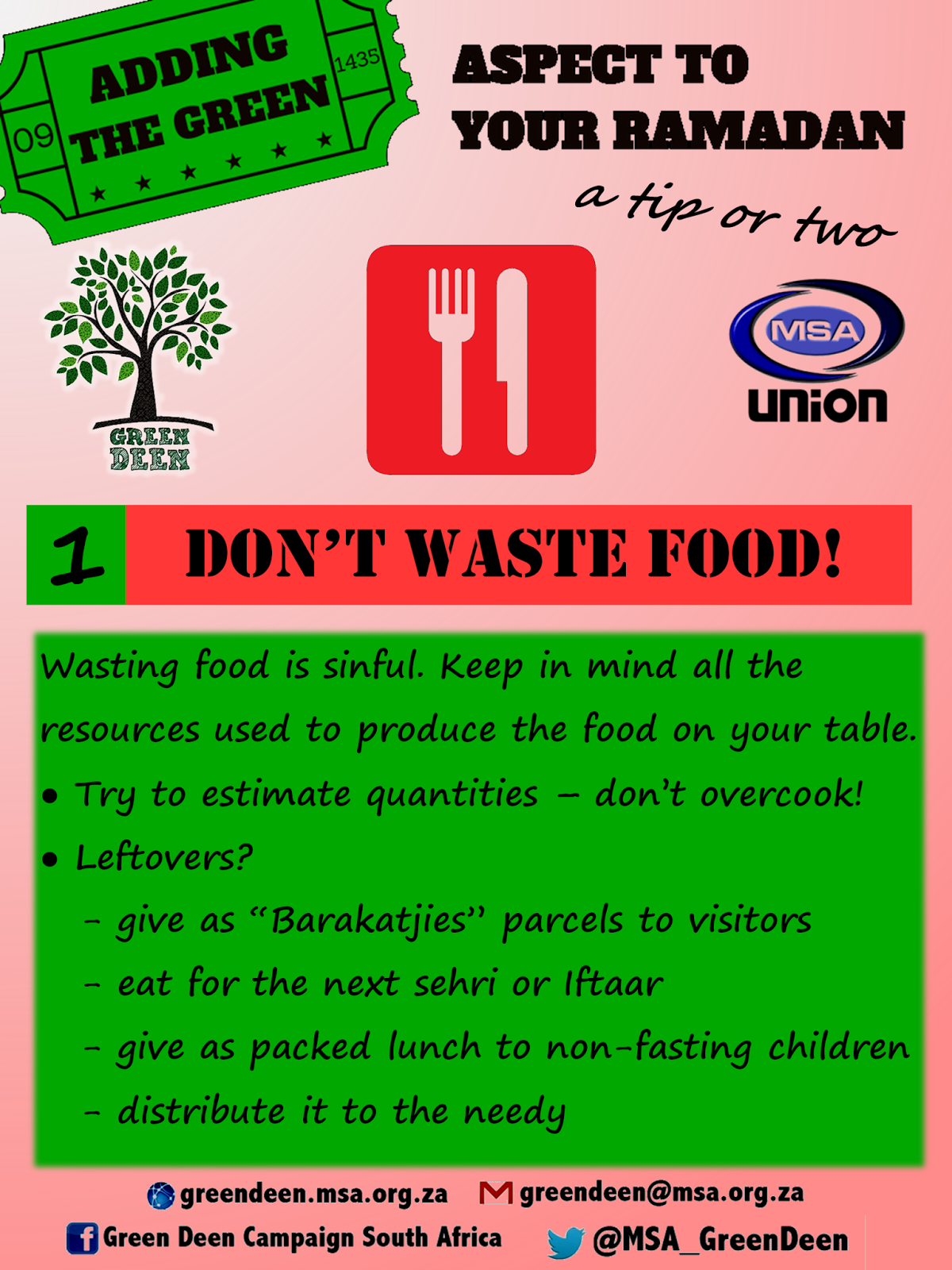 Green Deen Campaign South Africa Green Ramadan