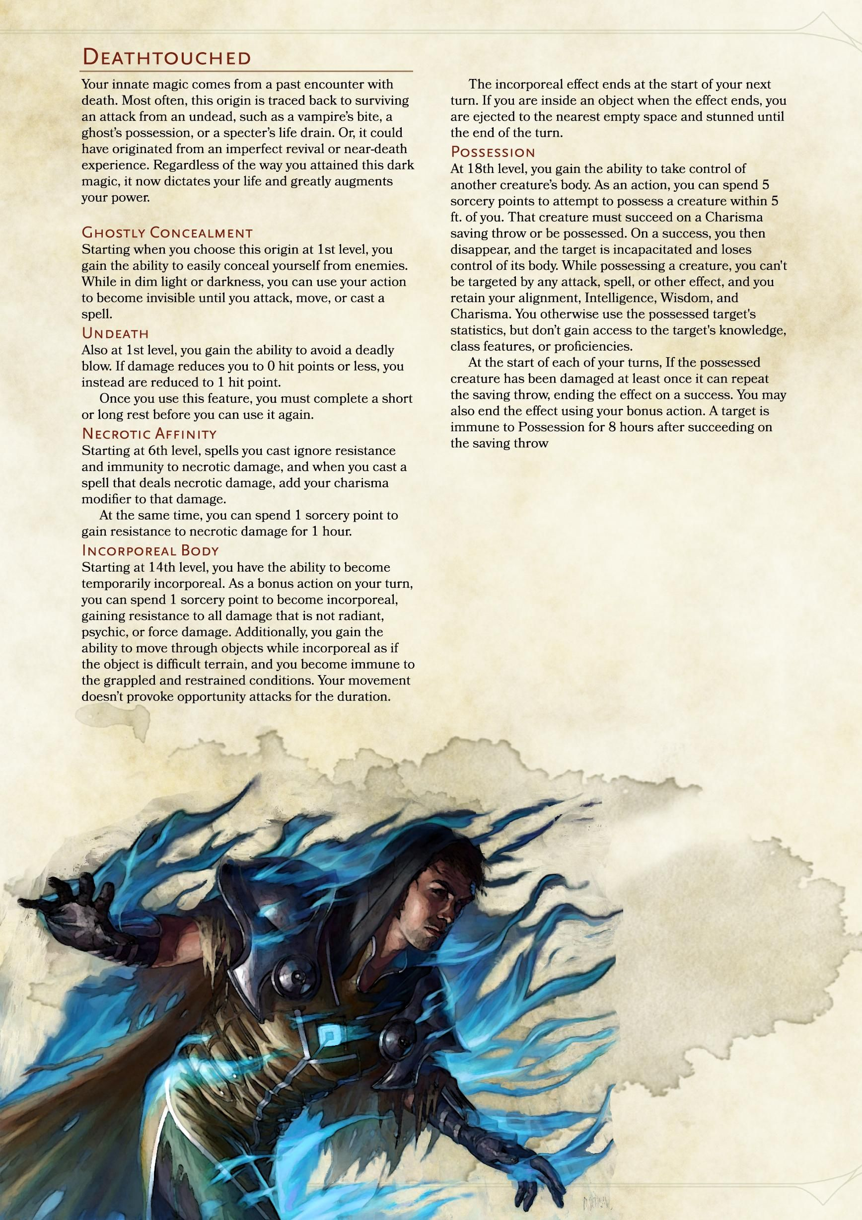 5e]Sorcerer Subclass: Deathtouched | DND Things | Dnd classes