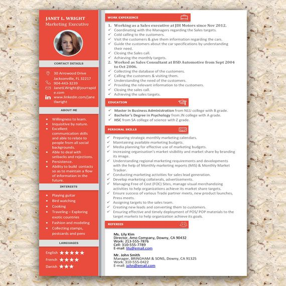 Creative Microsoft Word Resume Template in 4 Colors File Format