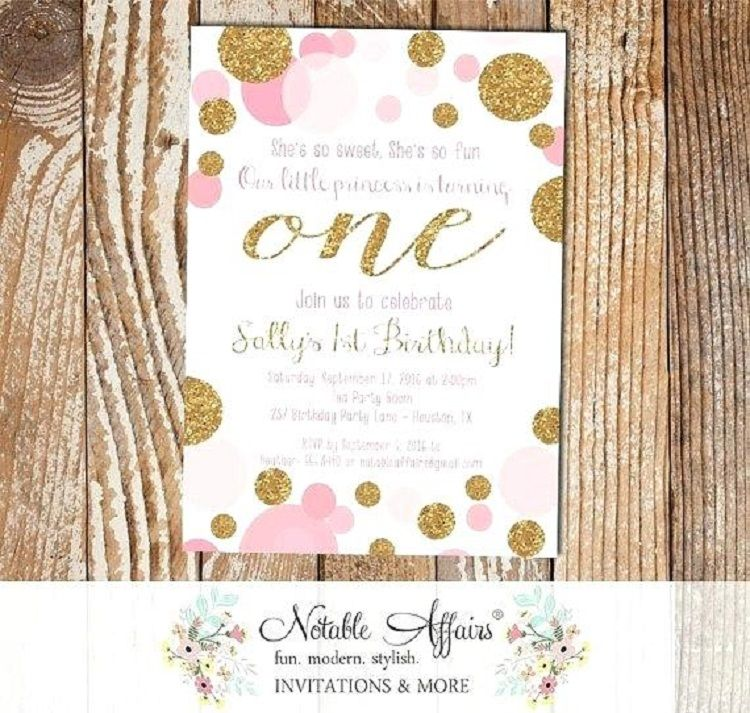 pink and gold birthday invitation template buick pinterest