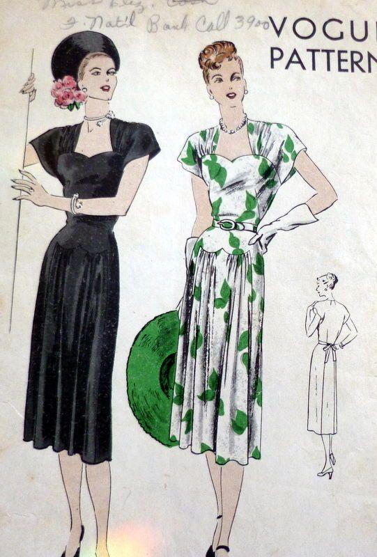 LOVELY VTG 1940s DRESS VOGUE Sewing Pattern 16/34 | Dresses 40s ...