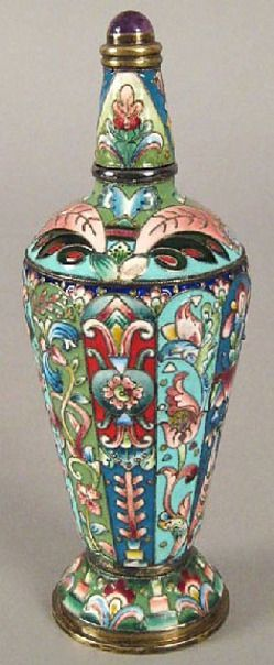bottles, flasks & jars, Russia, Russian silver and enamel perfume with cabochon inlaid finial, late 19th century.