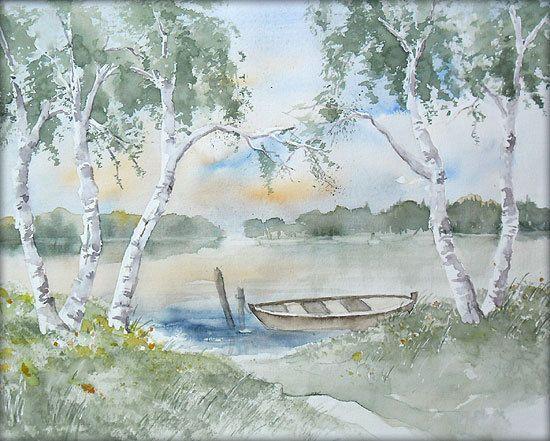 birken am see  aquarell  24 x 30 cm  original