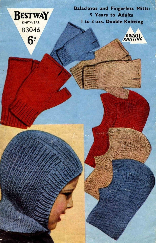 Vintage Balaclava Helmets and Fingerless Mitts, Knitting Pattern ...