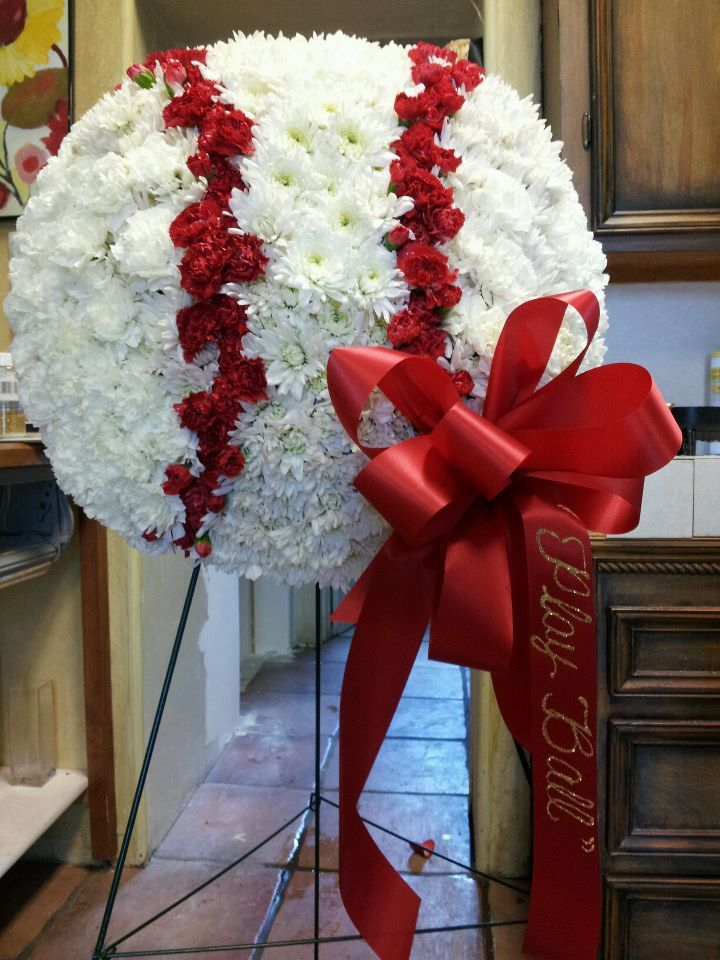 Baseball Flower Arrangement For Funeral