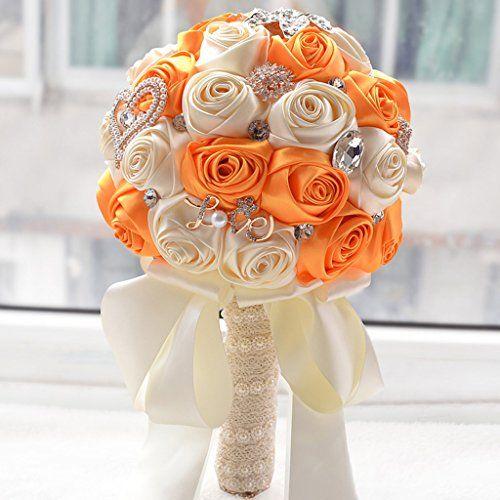 New Artificial Orange and White Silk Rose Wedding Flowers Bouquet Flowers Bridal Bouquets Crystal Brooch Wedding Bouquet Supplies Wedding Accessories http://www.amazon.com/dp/B00ZOOGEQQ/ref=cm_sw_r_pi_dp_l1.gwb1VVCKBS