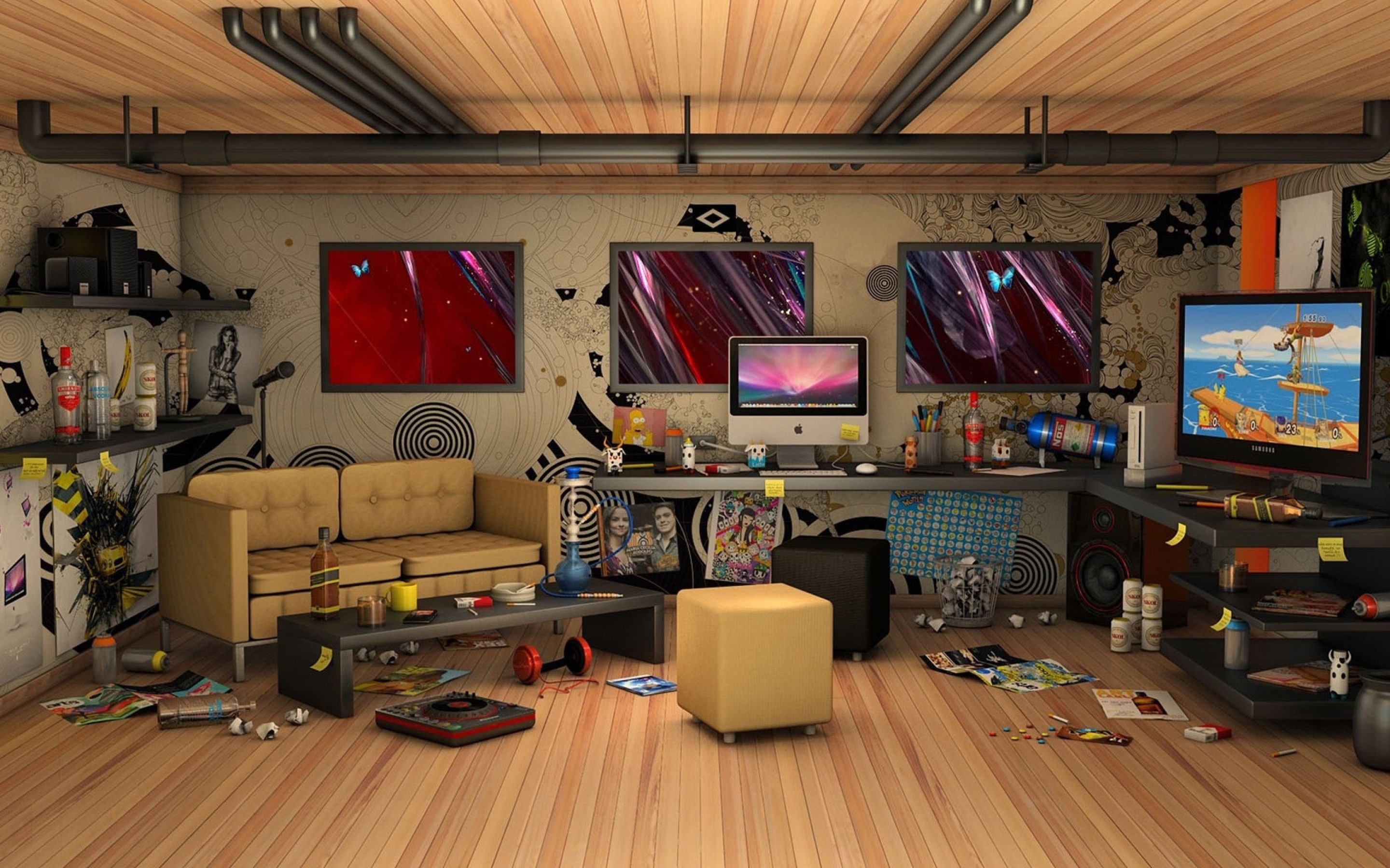 3D Messy Living Room IMac Computer Wallpaper