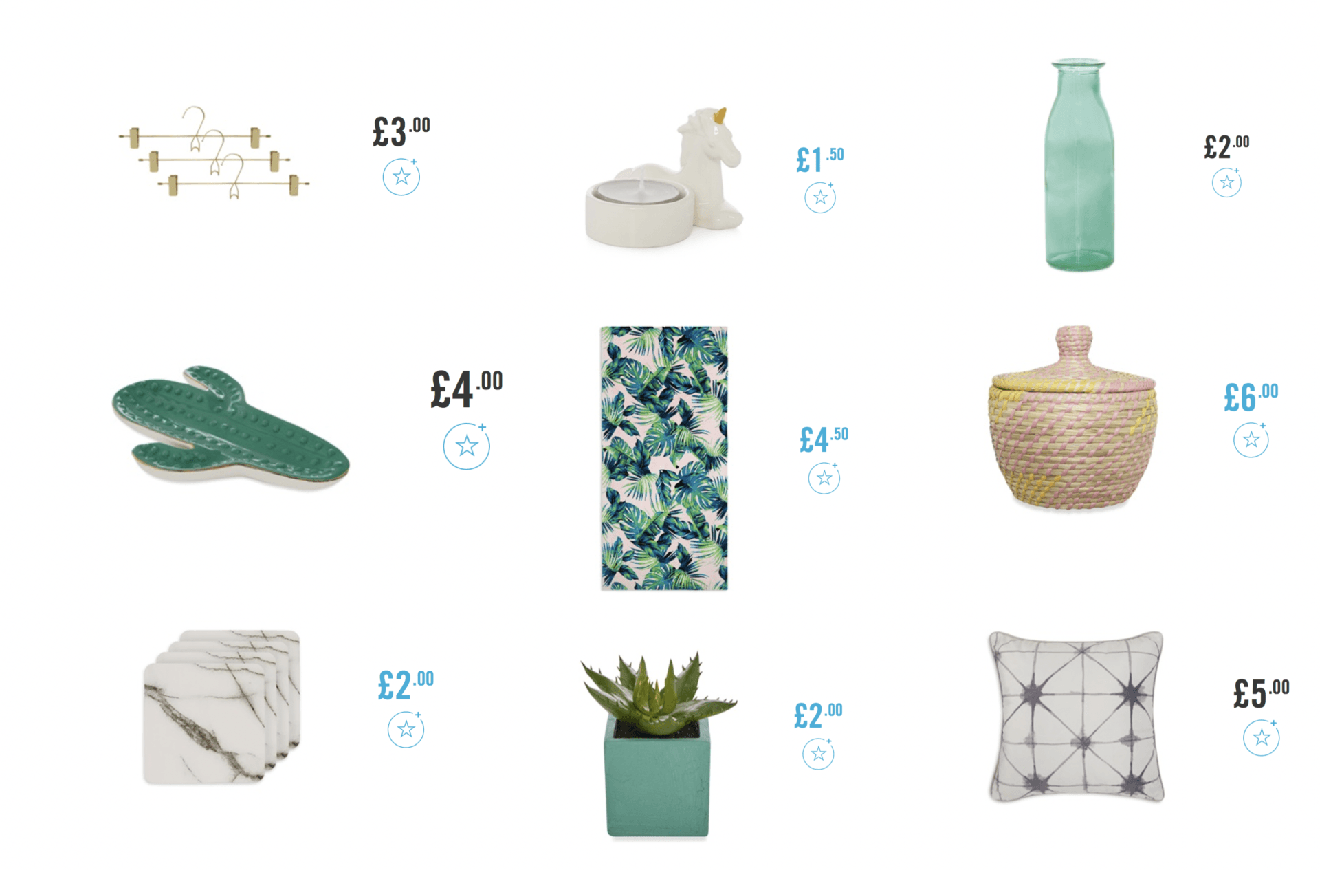 My top picks of interior accessories from high street retailers featuring Primark, H&M, The Range and Dunelm Mill