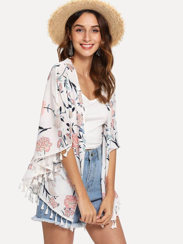 d8474111f0 White & Pink Lotus Floral Kimono Beach Cover Up in 2019 | Our Beach ...