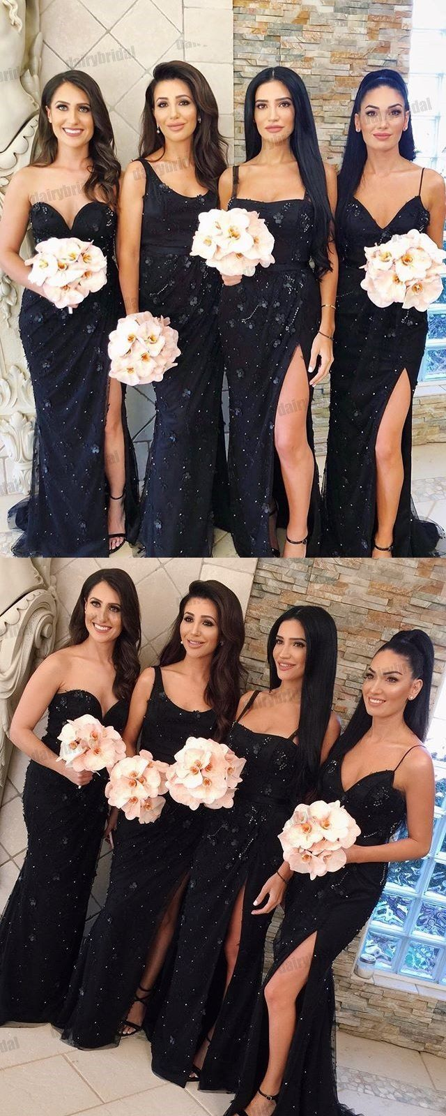 245d87ad153 Mismatched Black Mermaid Sexy Slit Beaded Floor-Length Bridesmaid Dresses