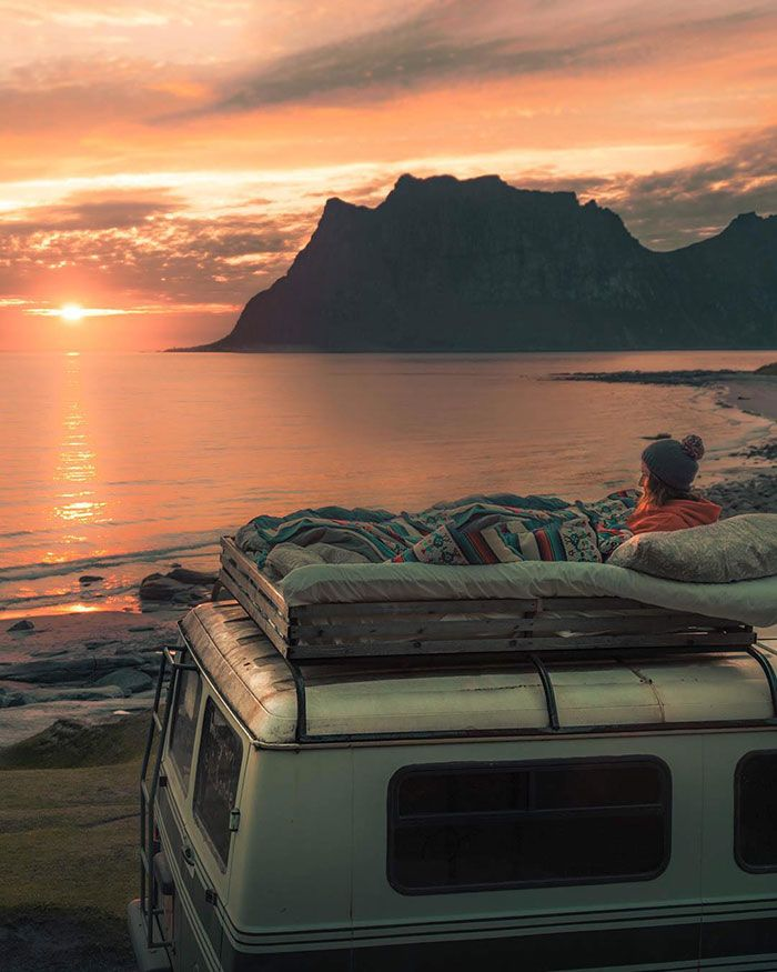 Photo of Why Not Spend The Evening Sitting Up Top Of Your Van Watching A Movie And Soaking In The Sun As It Shuffles Its Way Across The Horizon?
