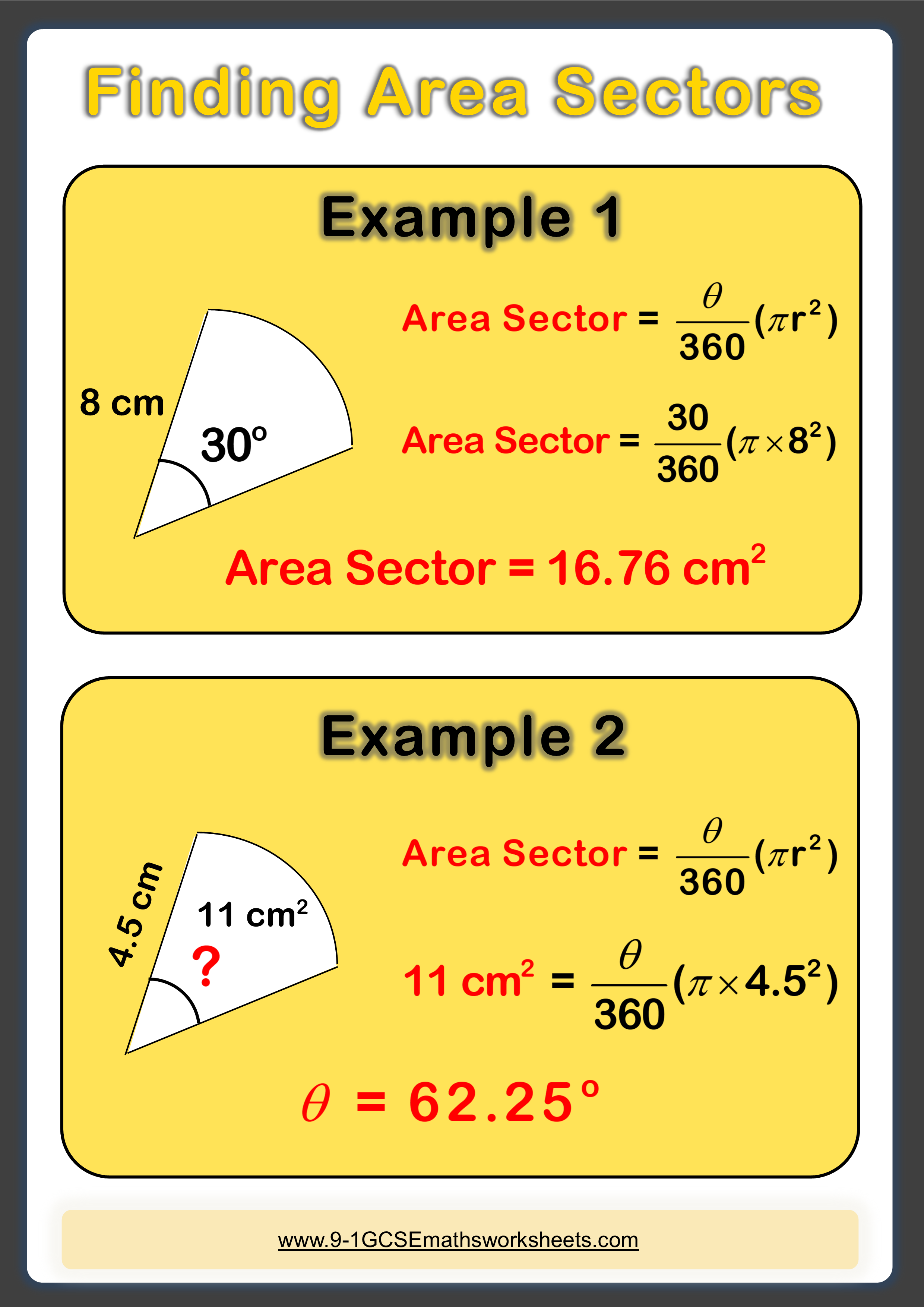 Finding Area Of Sectors Example