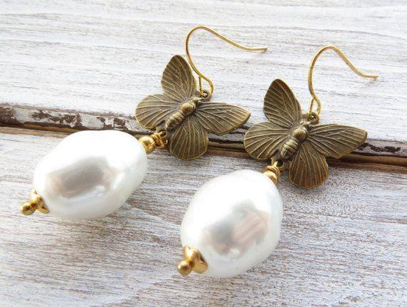 White Baroque Pearl Earrings Erfly By Sofiasbijoux