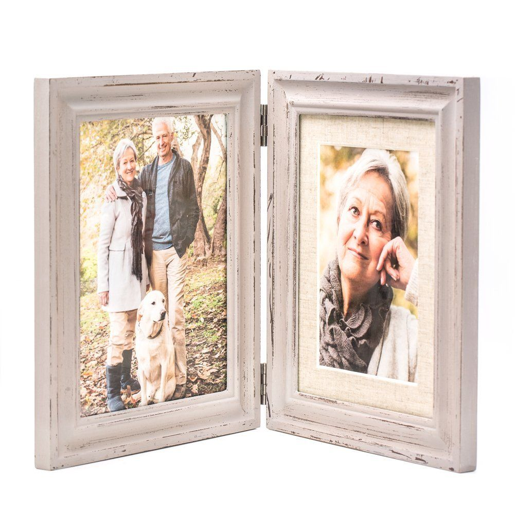Double Folding 6x8 LightGray Wood Picture Frame with Glass Front ...