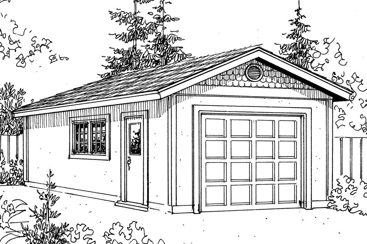 This Mediterranean Garage Plan Can Park One Car The Garage Door Is 10 Wide And 8 Tall Garage Plan Mediterranean House Plans Car Garage