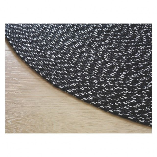 Foster Round Black And White Cotton Rug