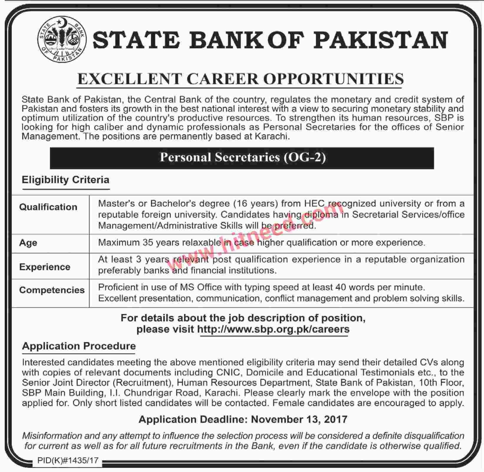 State Bank Of Pakistan Excellent Career Opportunities  Oct