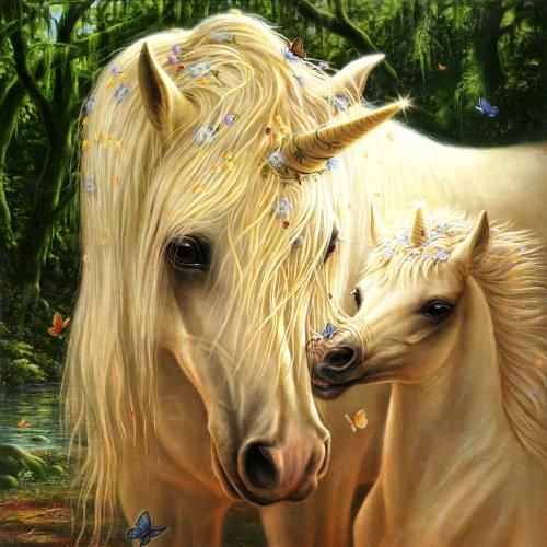 Unicorn and foal. #horse #art