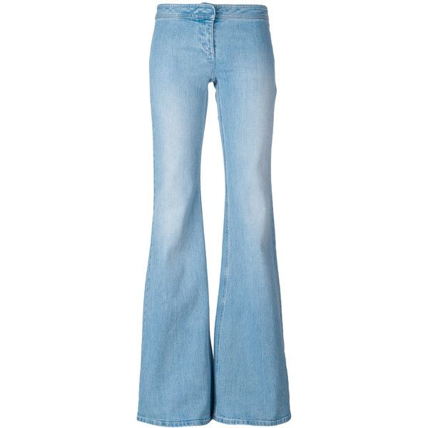 Balmain Bootcut Jeans (€275) ❤ liked on Polyvore featuring jeans, bottoms, pants, light blue, boot-cut jeans, destructed jeans, destroyed jeans, light blue jeans and blue jeans